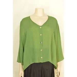 Click top SZ XL moss green rayon crinkle hi lo but